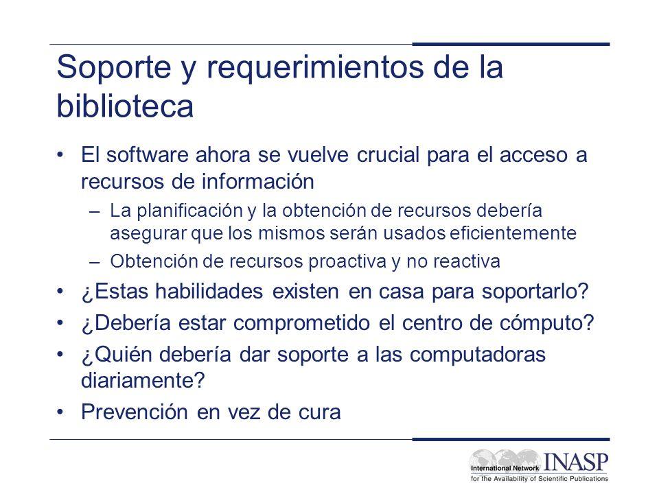 Soporte y requerimientos de la biblioteca El software ahora se vuelve crucial para el acceso a recursos de información –La planificación y la obtenció