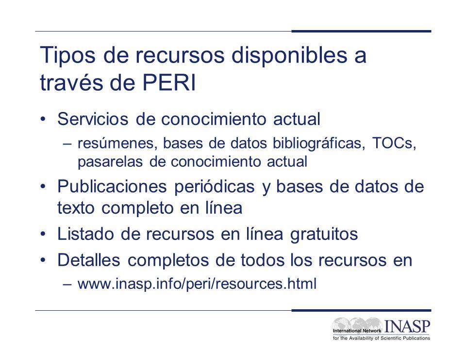 Tipos de recursos disponibles a través de PERI Servicios de conocimiento actual –resúmenes, bases de datos bibliográficas, TOCs, pasarelas de conocimi