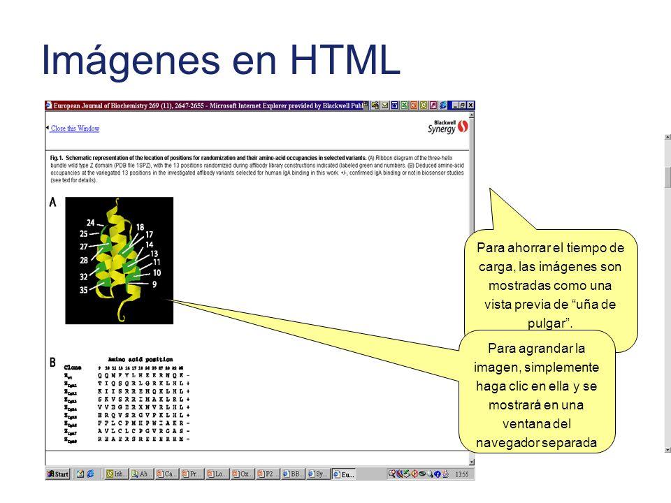 Imágenes en HTML Para ahorrar el tiempo de carga, las imágenes son mostradas como una vista previa de uña de pulgar. Para agrandar la imagen, simpleme