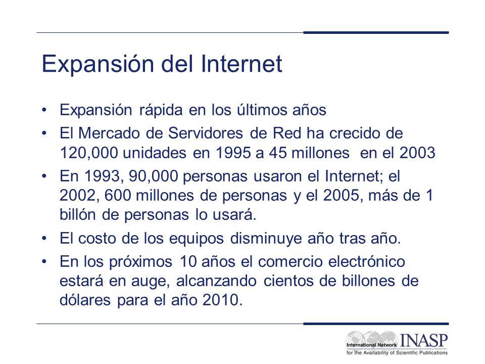 Expansión del Internet Expansión rápida en los últimos años El Mercado de Servidores de Red ha crecido de 120,000 unidades en 1995 a 45 millones en el