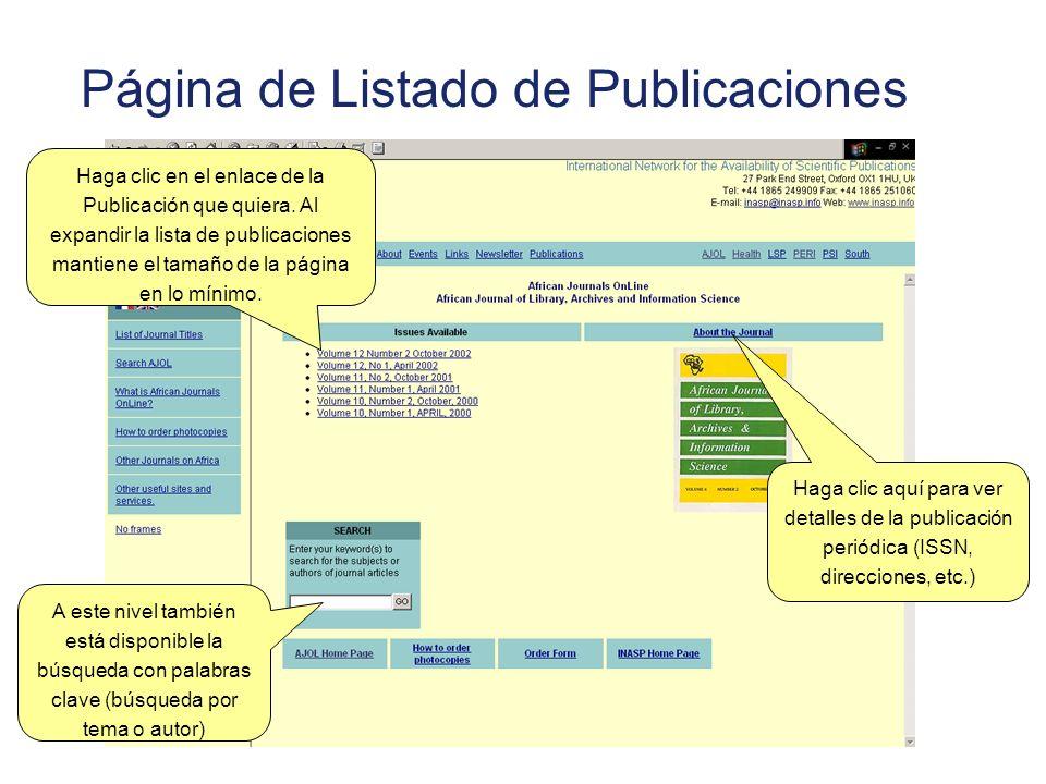Página de Listado de Publicaciones A este nivel también está disponible la búsqueda con palabras clave (búsqueda por tema o autor) Haga clic en el enl