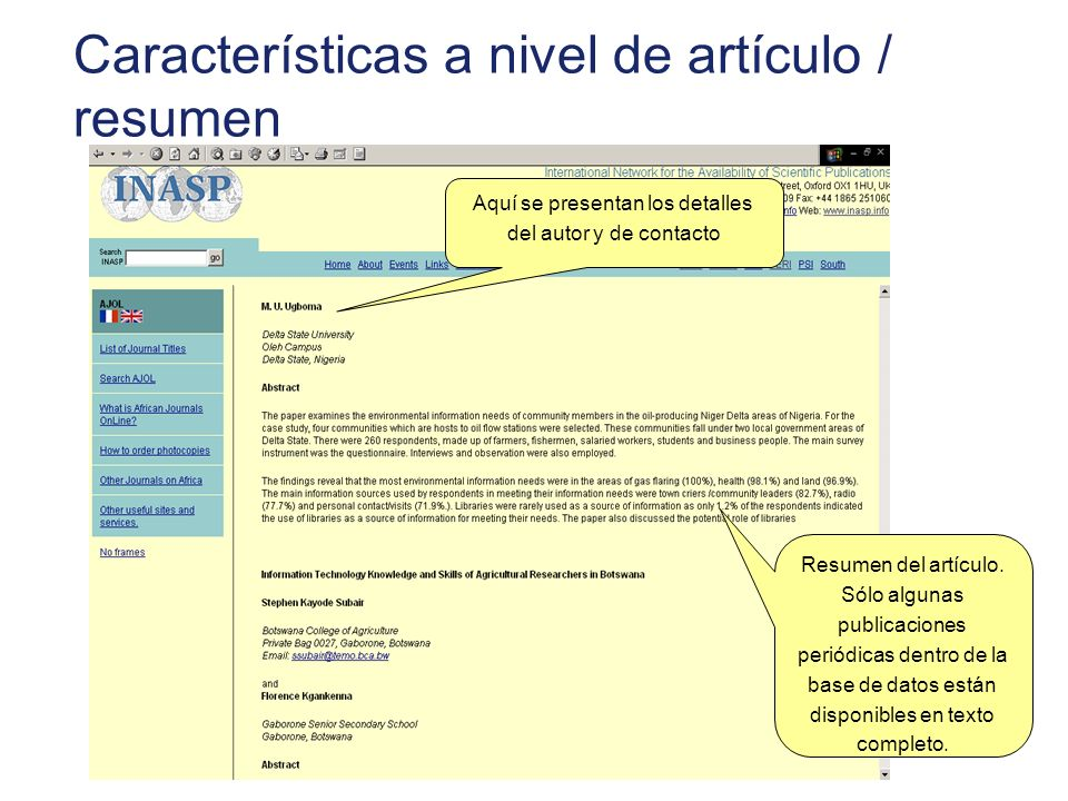 Características a nivel de artículo / resumen Resumen del artículo. Sólo algunas publicaciones periódicas dentro de la base de datos están disponibles