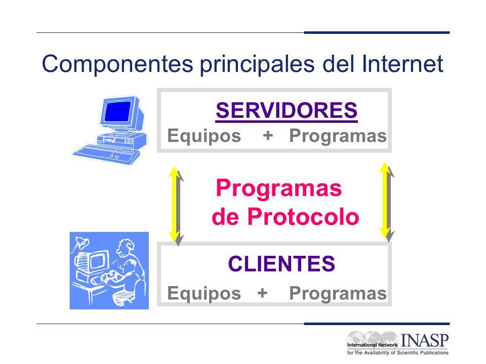 Componentes principales del Internet SERVIDORES CLIENTES Equipos + Programas Programas de Protocolo