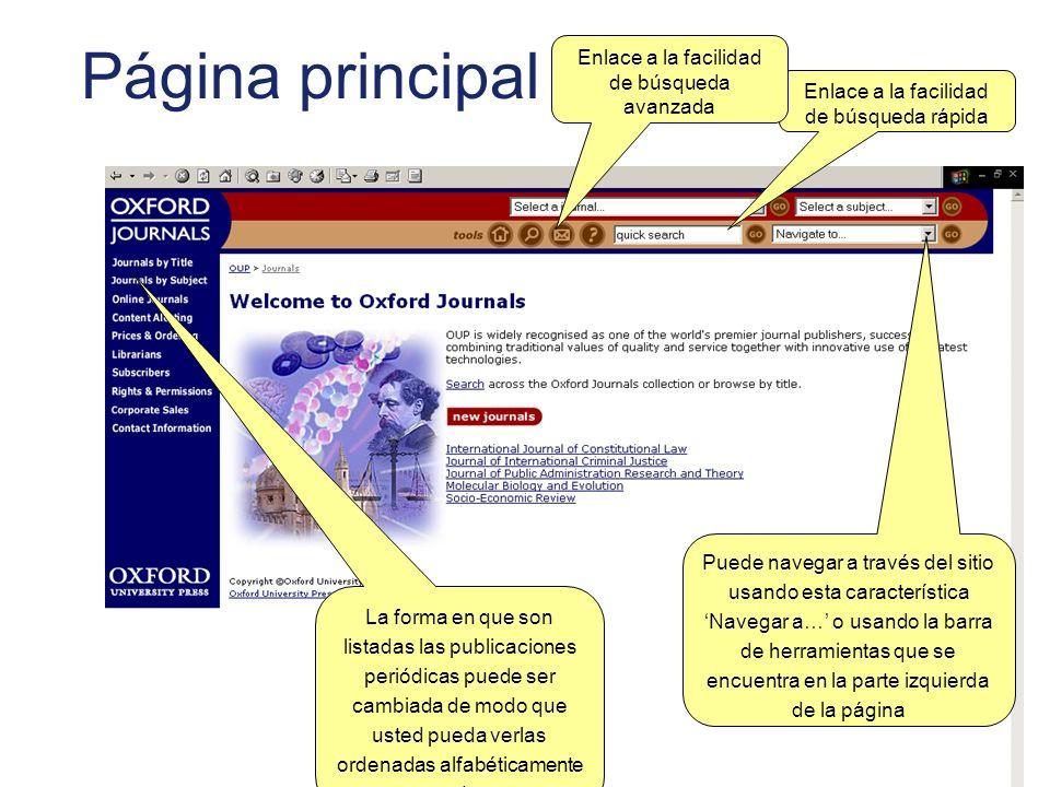 Página principal La forma en que son listadas las publicaciones periódicas puede ser cambiada de modo que usted pueda verlas ordenadas alfabéticamente