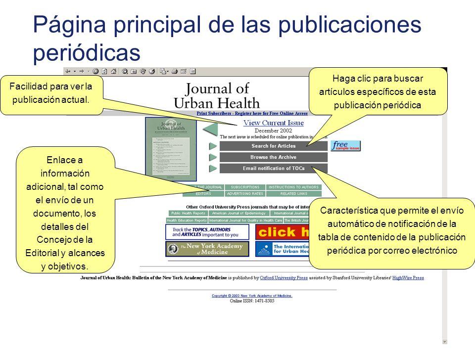 Página principal de las publicaciones periódicas Facilidad para ver la publicación actual. Enlace a información adicional, tal como el envío de un doc