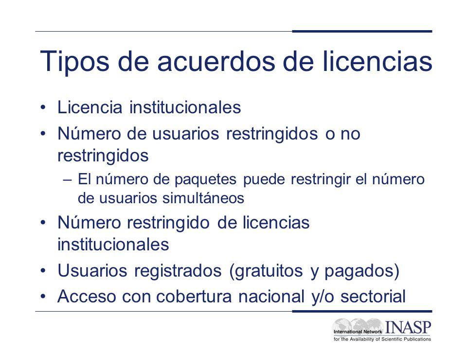 Tipos de acuerdos de licencias Licencia institucionales Número de usuarios restringidos o no restringidos –El número de paquetes puede restringir el n