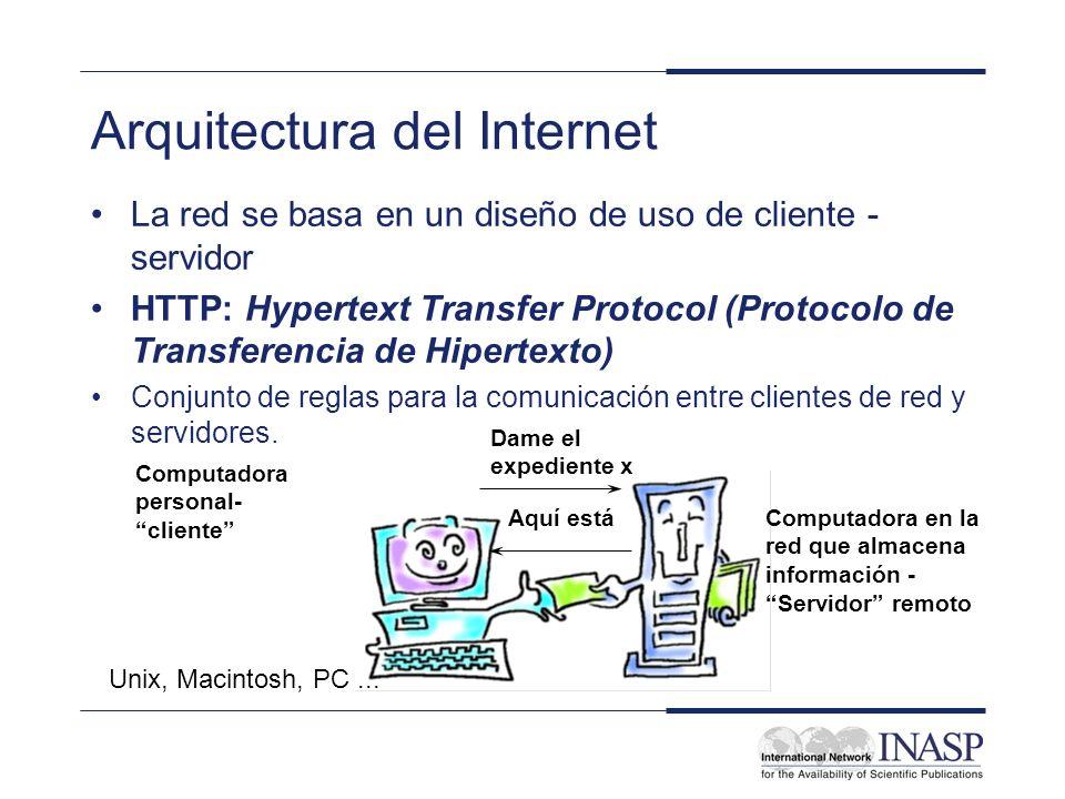 Arquitectura del Internet La red se basa en un diseño de uso de cliente - servidor HTTP: Hypertext Transfer Protocol (Protocolo de Transferencia de Hi