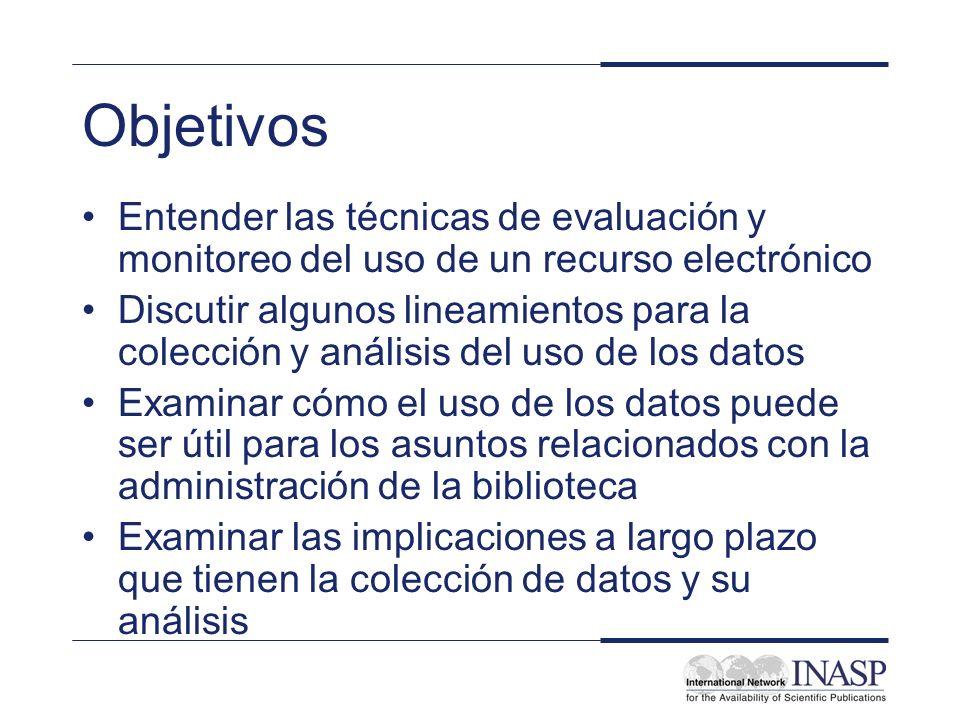 Objetivos Entender las técnicas de evaluación y monitoreo del uso de un recurso electrónico Discutir algunos lineamientos para la colección y análisis
