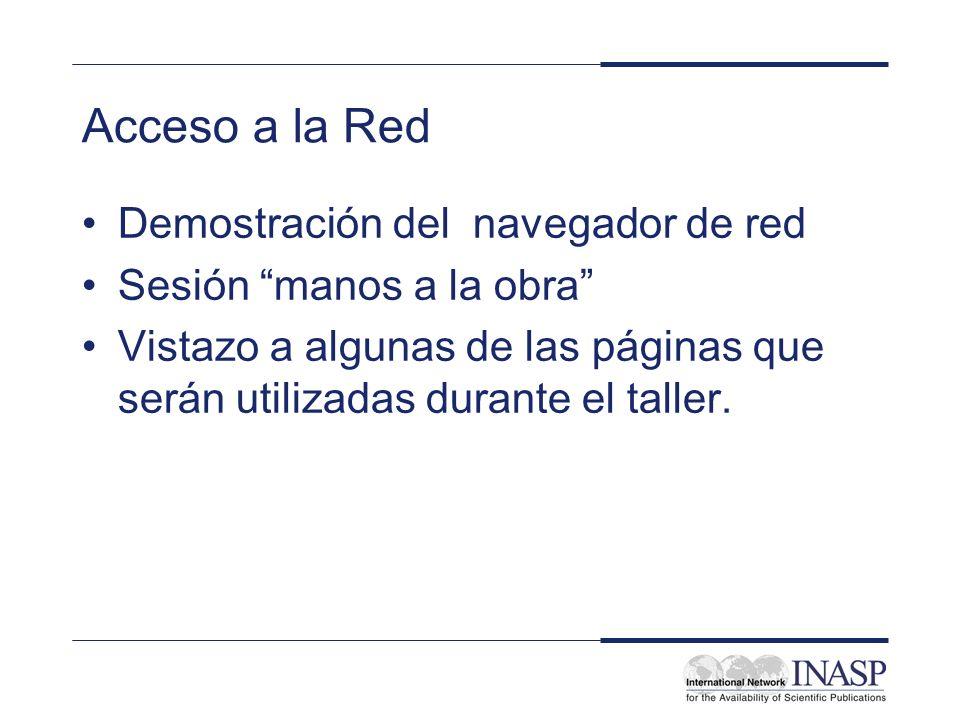 Acceso a la Red Demostración del navegador de red Sesión manos a la obra Vistazo a algunas de las páginas que serán utilizadas durante el taller.