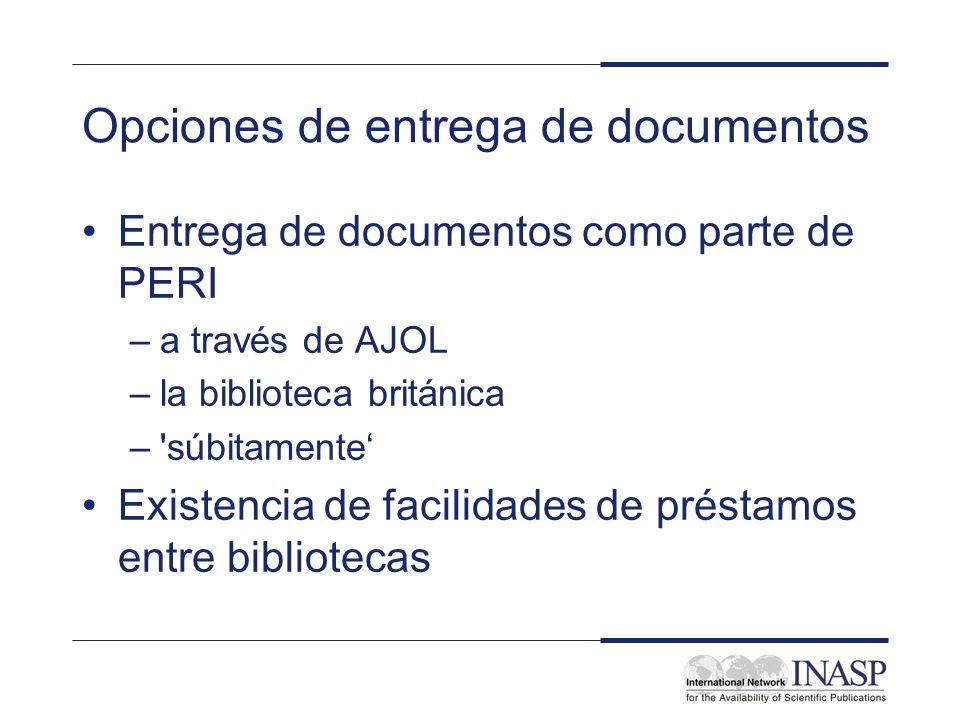 Opciones de entrega de documentos Entrega de documentos como parte de PERI –a través de AJOL –la biblioteca británica –'súbitamente Existencia de faci