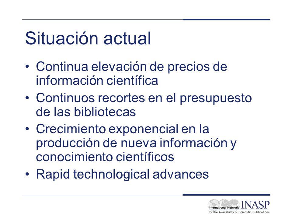Situación actual Continua elevación de precios de información científica Continuos recortes en el presupuesto de las bibliotecas Crecimiento exponenci