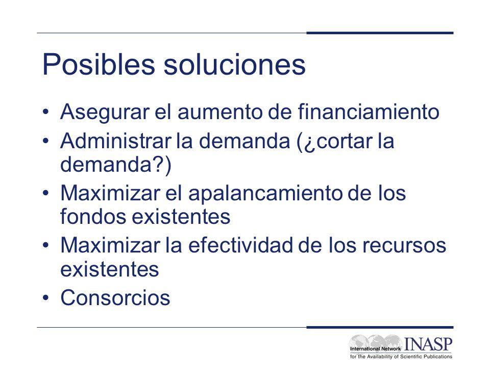 Posibles soluciones Asegurar el aumento de financiamiento Administrar la demanda (¿cortar la demanda?) Maximizar el apalancamiento de los fondos exist