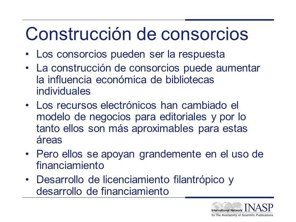 Construcción de consorcios Los consorcios pueden ser la respuesta La construcción de consorcios puede aumentar la influencia económica de bibliotecas