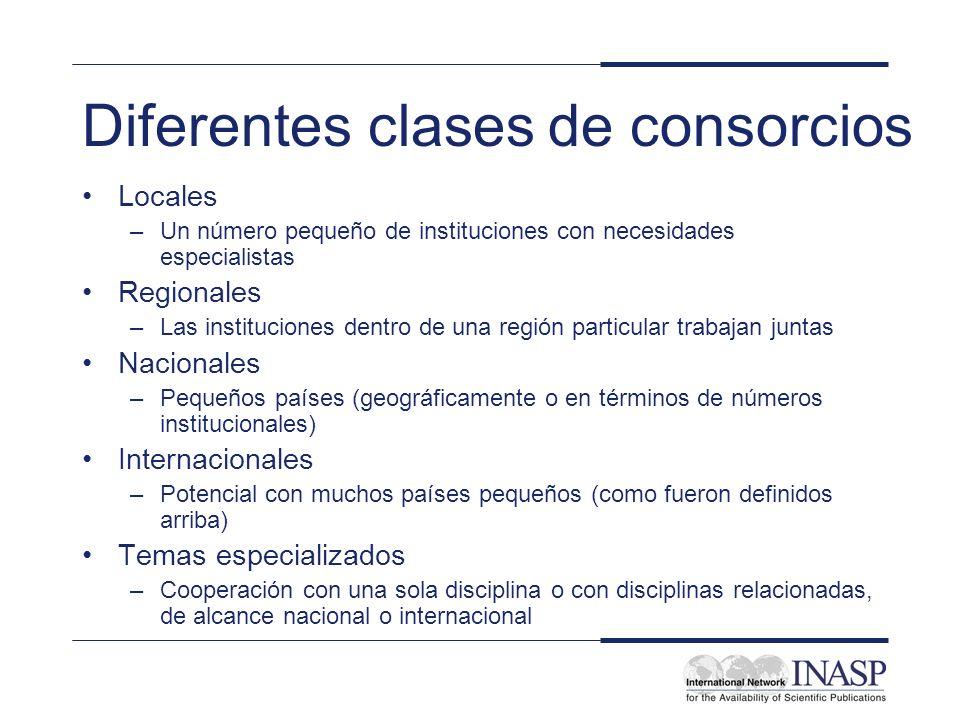 Diferentes clases de consorcios Locales –Un número pequeño de instituciones con necesidades especialistas Regionales –Las instituciones dentro de una