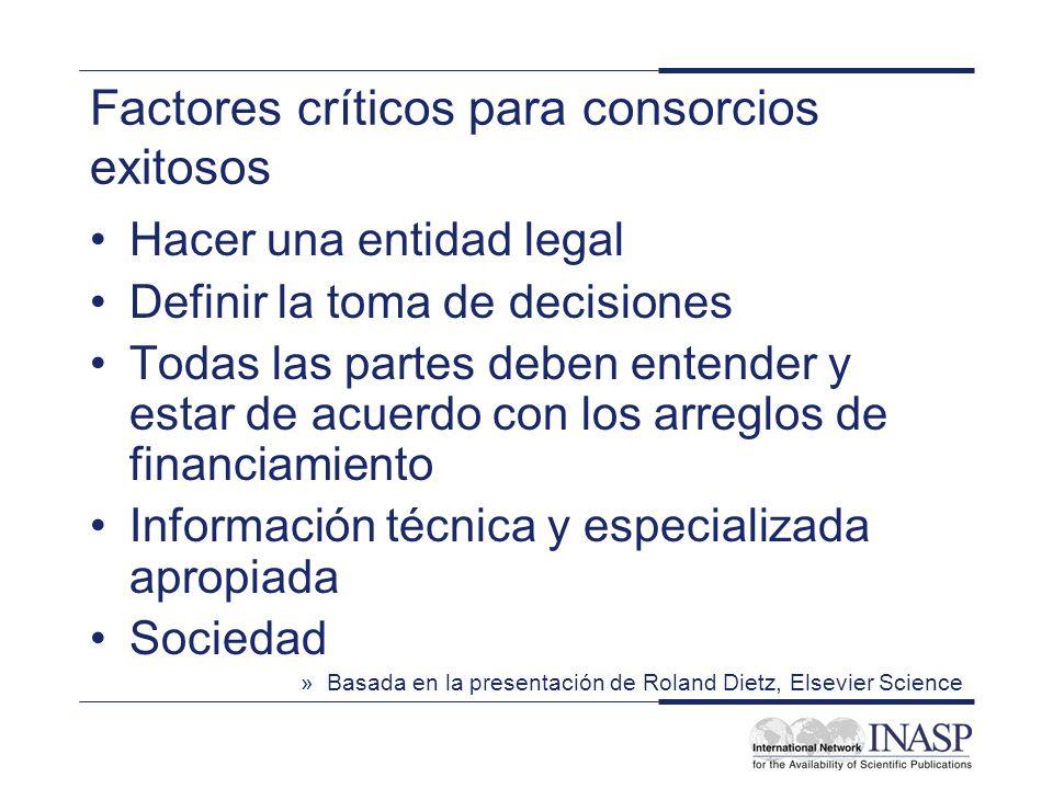 Factores críticos para consorcios exitosos Hacer una entidad legal Definir la toma de decisiones Todas las partes deben entender y estar de acuerdo co