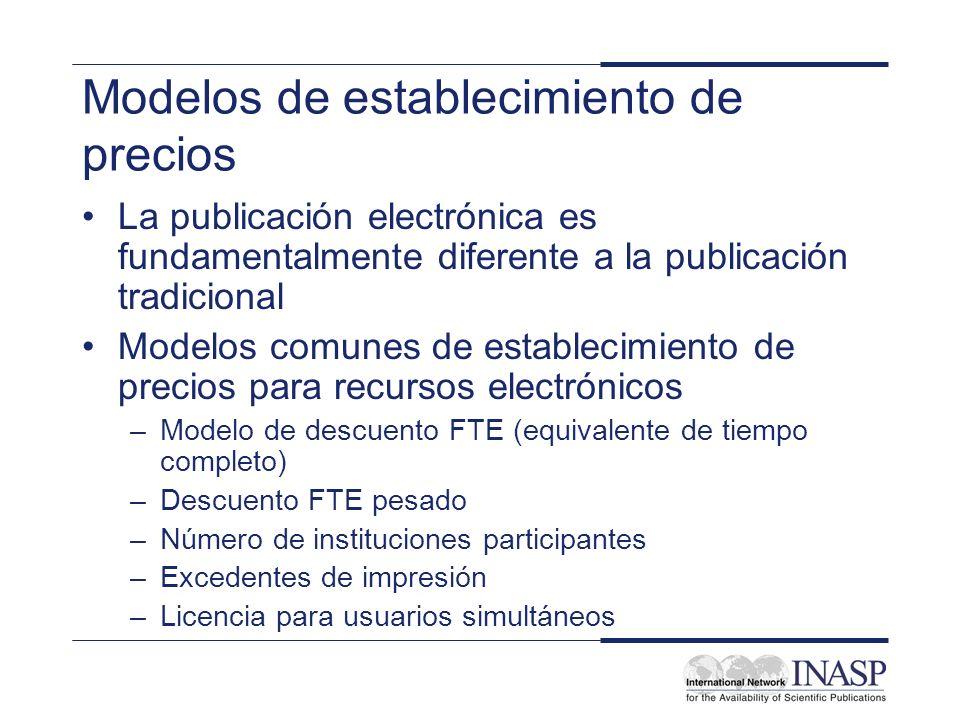 Modelos de establecimiento de precios La publicación electrónica es fundamentalmente diferente a la publicación tradicional Modelos comunes de estable
