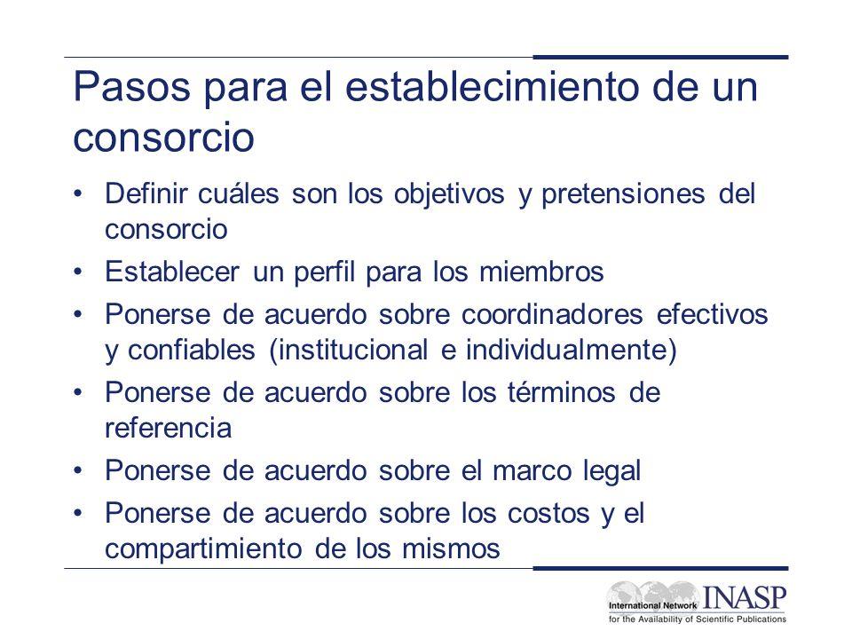 Pasos para el establecimiento de un consorcio Definir cuáles son los objetivos y pretensiones del consorcio Establecer un perfil para los miembros Pon