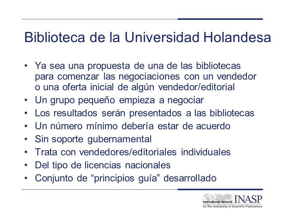 Biblioteca de la Universidad Holandesa Ya sea una propuesta de una de las bibliotecas para comenzar las negociaciones con un vendedor o una oferta ini