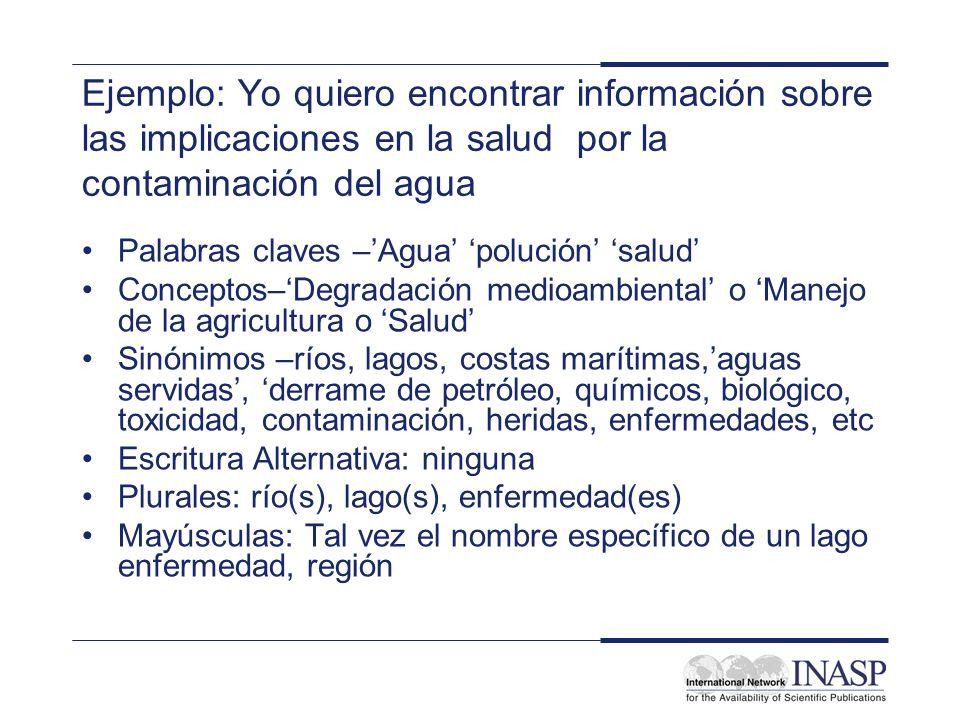 Ejemplo: Yo quiero encontrar información sobre las implicaciones en la salud por la contaminación del agua Palabras claves –Agua polución salud Concep