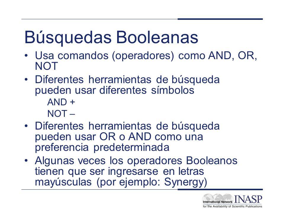 Búsquedas Booleanas Usa comandos (operadores) como AND, OR, NOT Diferentes herramientas de búsqueda pueden usar diferentes símbolos AND + NOT – Difere