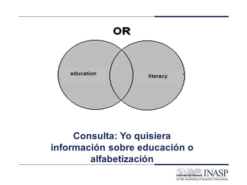 education literacy Consulta: Yo quisiera información sobre educación o alfabetización