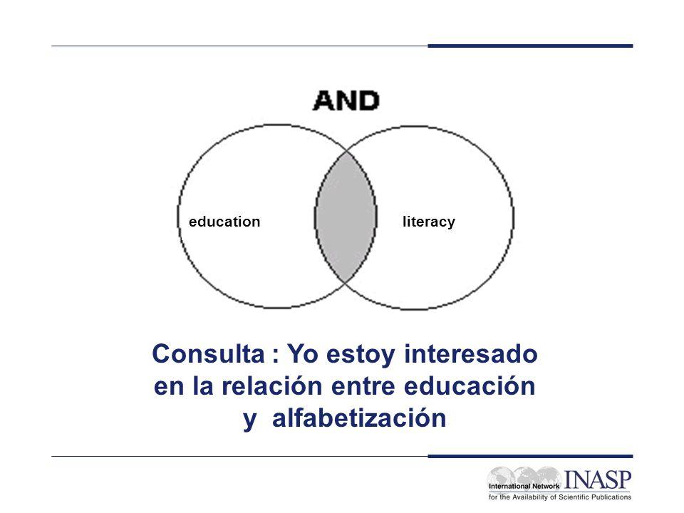 educationliteracy Consulta : Yo estoy interesado en la relación entre educación y alfabetización