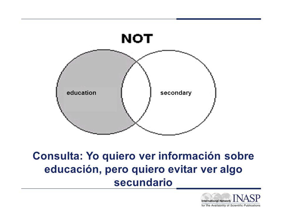 educationsecondary Consulta: Yo quiero ver información sobre educación, pero quiero evitar ver algo secundario