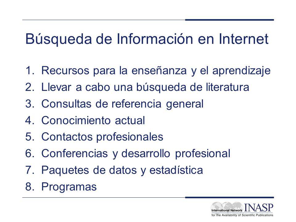 Búsqueda de Información en Internet 1. Recursos para la enseñanza y el aprendizaje 2. Llevar a cabo una búsqueda de literatura 3. Consultas de referen