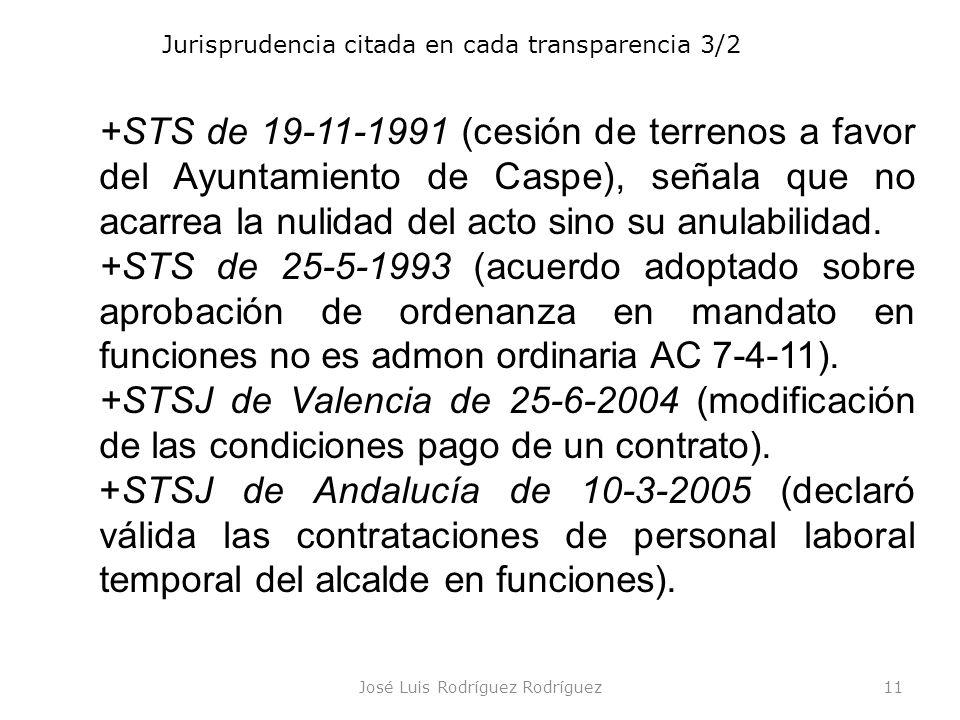 José Luis Rodríguez Rodríguez11 Jurisprudencia citada en cada transparencia 3/2 +STS de 19-11-1991 (cesión de terrenos a favor del Ayuntamiento de Cas