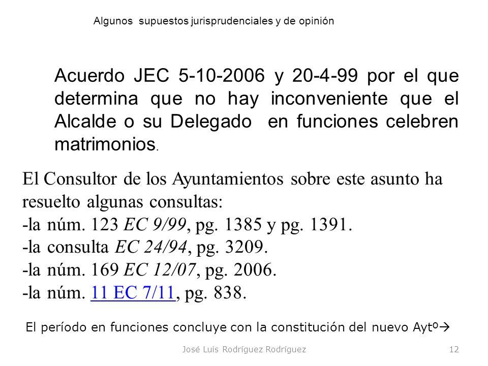 José Luis Rodríguez Rodríguez12 Acuerdo JEC 5-10-2006 y 20-4-99 por el que determina que no hay inconveniente que el Alcalde o su Delegado en funcione
