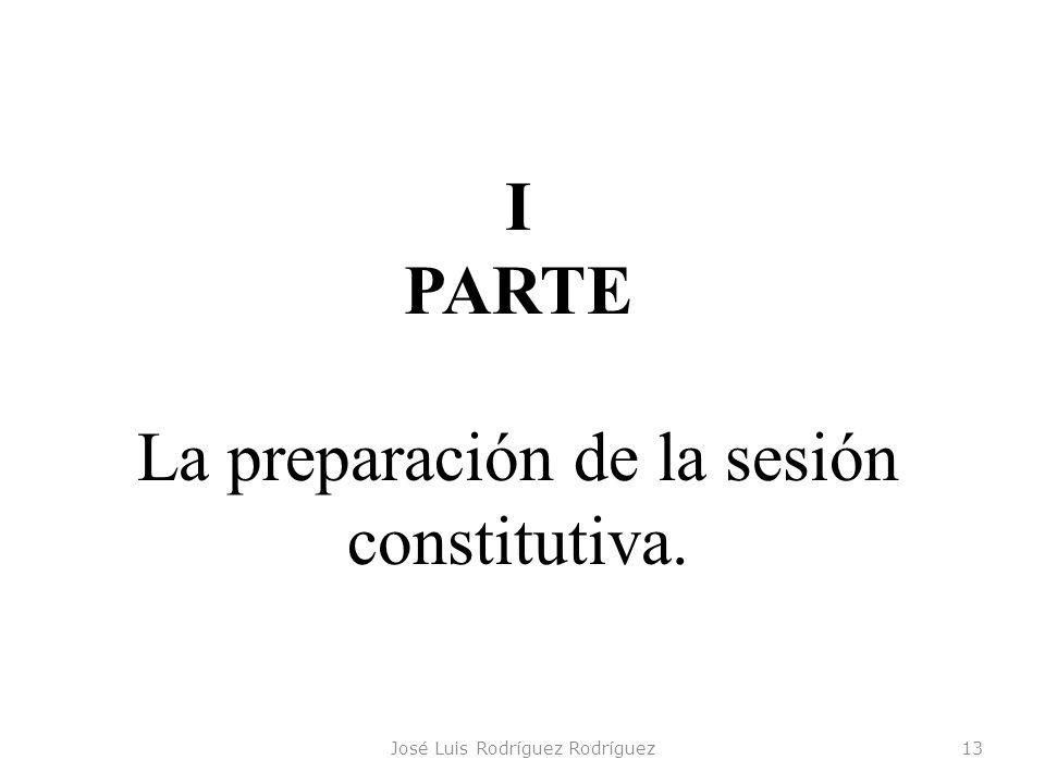 José Luis Rodríguez Rodríguez13 I PARTE La preparación de la sesión constitutiva.