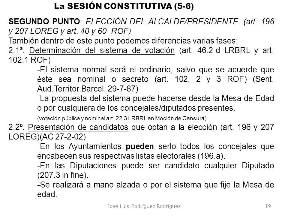 José Luis Rodríguez Rodríguez19 La SESIÓN CONSTITUTIVA (5-6) SEGUNDO PUNTO: ELECCIÓN DEL ALCALDE/PRESIDENTE. (art. 196 y 207 LOREG y art. 40 y 60 ROF)