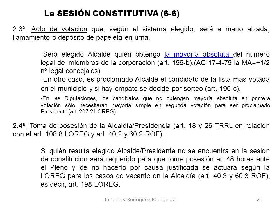 José Luis Rodríguez Rodríguez20 2.3ª. Acto de votación que, según el sistema elegido, será a mano alzada, llamamiento o depósito de papeleta en urna.