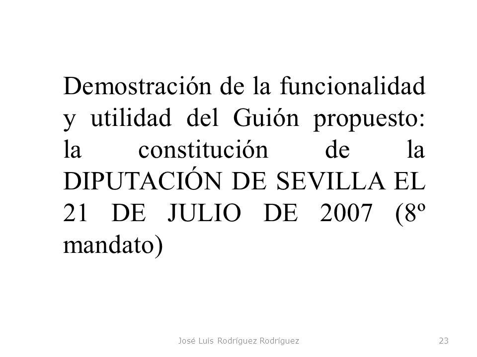 José Luis Rodríguez Rodríguez23 Demostración de la funcionalidad y utilidad del Guión propuesto: la constitución de la DIPUTACIÓN DE SEVILLA EL 21 DE