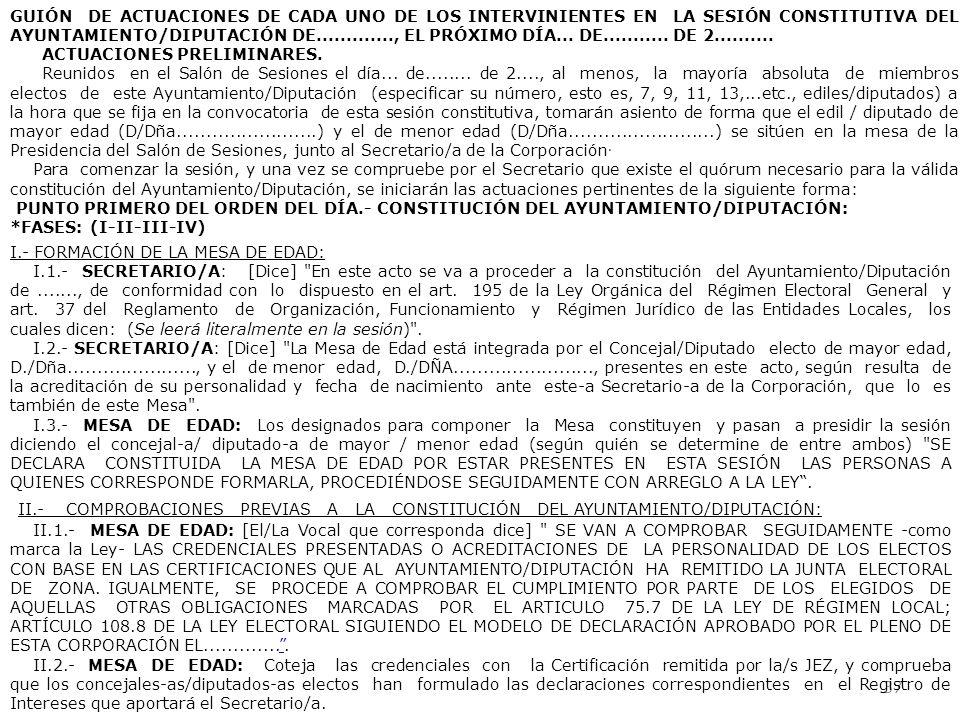 37 GUIÓN DE ACTUACIONES DE CADA UNO DE LOS INTERVINIENTES EN LA SESIÓN CONSTITUTIVA DEL AYUNTAMIENTO/DIPUTACIÓN DE............., EL PRÓXIMO DÍA... DE.