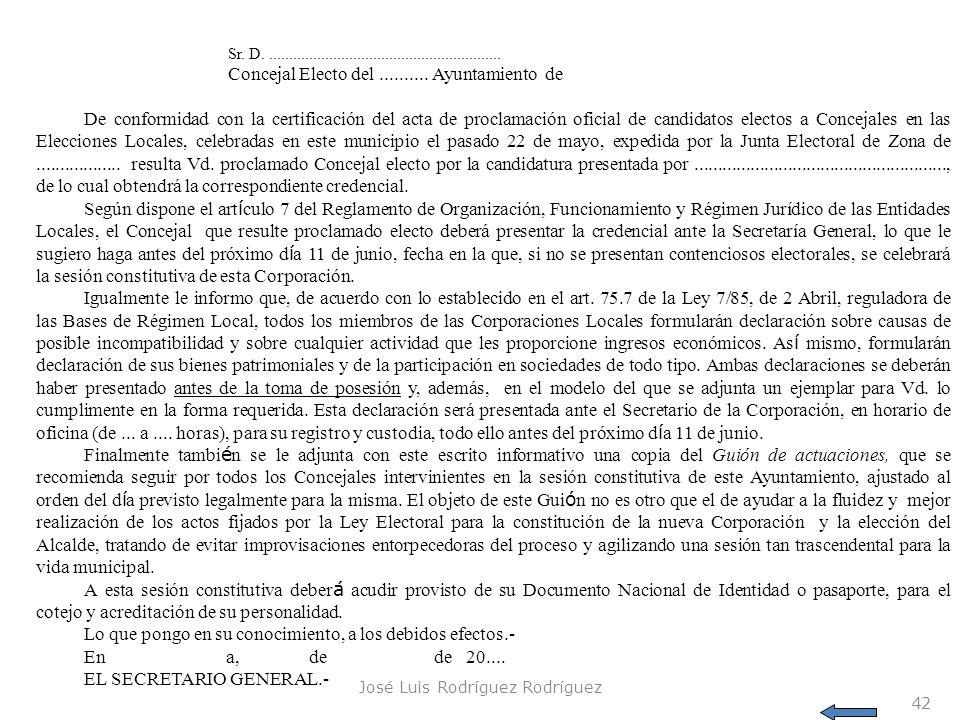 José Luis Rodríguez Rodríguez 42 Sr. D........................................................... Concejal Electo del.......... Ayuntamiento de De con