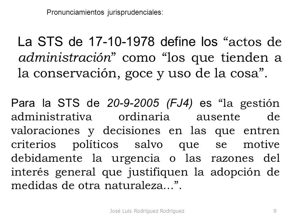 José Luis Rodríguez Rodríguez10 Jurisprudencia citada en cada transparencia 2/2 En la STS de 2-12-2005 (FJ9, in fine) dice que el despacho ordinario de los asuntos públicos comprende todos aquellos cuya resolución no implique el establecimiento de nuevas orientaciones políticas ni signifique condicionamiento, compromiso o impedimento para las que deba fijar el nuevo Gobierno.
