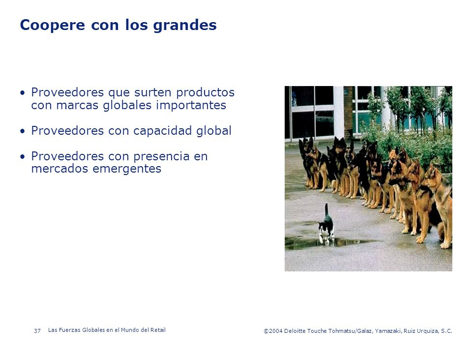 ©2003 Firm Name/Legal Entity 37©2004 Deloitte Touche Tohmatsu/Galaz, Yamazaki, Ruiz Urquiza, S.C. Las Fuerzas Globales en el Mundo del Retail Presenta
