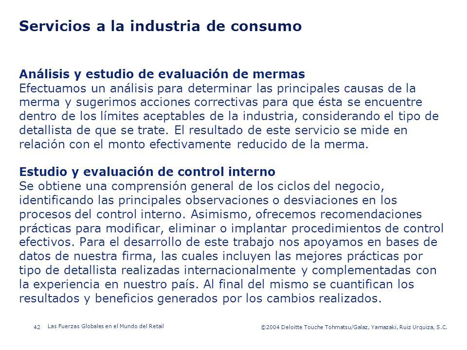 ©2003 Firm Name/Legal Entity 42©2004 Deloitte Touche Tohmatsu/Galaz, Yamazaki, Ruiz Urquiza, S.C. Las Fuerzas Globales en el Mundo del Retail Presenta