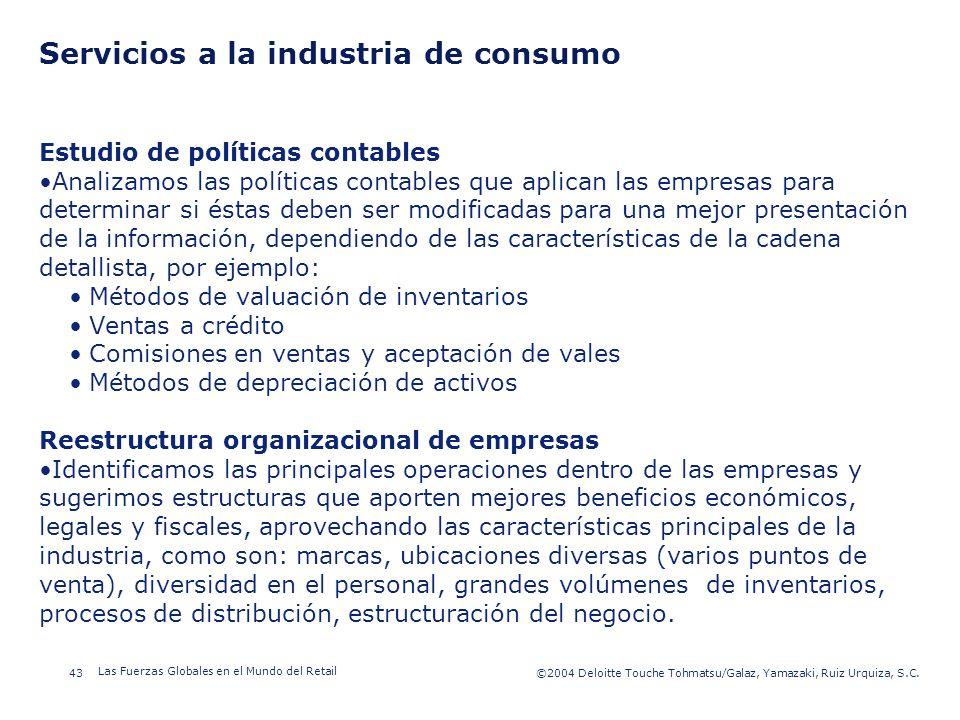 ©2003 Firm Name/Legal Entity 43©2004 Deloitte Touche Tohmatsu/Galaz, Yamazaki, Ruiz Urquiza, S.C. Las Fuerzas Globales en el Mundo del Retail Presenta