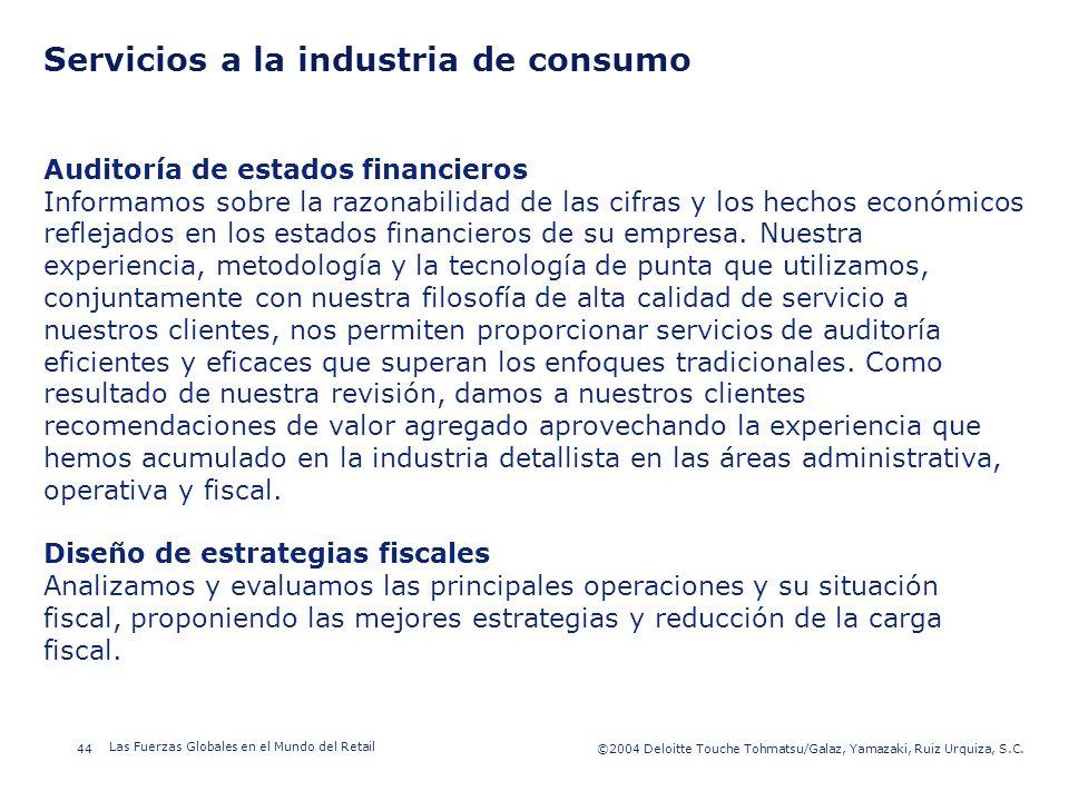 ©2003 Firm Name/Legal Entity 44©2004 Deloitte Touche Tohmatsu/Galaz, Yamazaki, Ruiz Urquiza, S.C. Las Fuerzas Globales en el Mundo del Retail Presenta