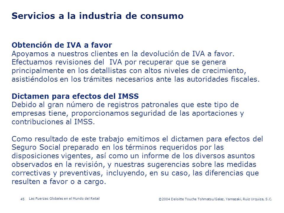 ©2003 Firm Name/Legal Entity 45©2004 Deloitte Touche Tohmatsu/Galaz, Yamazaki, Ruiz Urquiza, S.C. Las Fuerzas Globales en el Mundo del Retail Presenta