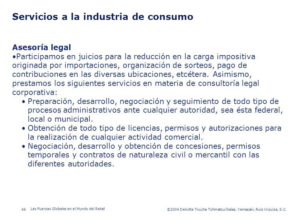 ©2003 Firm Name/Legal Entity 46©2004 Deloitte Touche Tohmatsu/Galaz, Yamazaki, Ruiz Urquiza, S.C. Las Fuerzas Globales en el Mundo del Retail Presenta