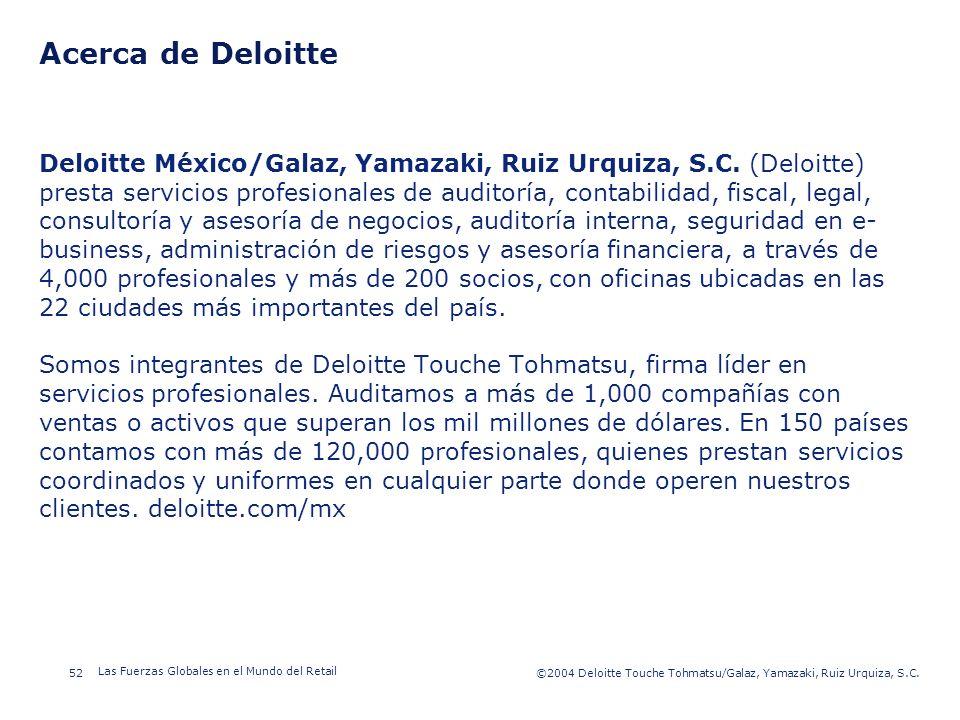 ©2003 Firm Name/Legal Entity 52©2004 Deloitte Touche Tohmatsu/Galaz, Yamazaki, Ruiz Urquiza, S.C. Las Fuerzas Globales en el Mundo del Retail Presenta