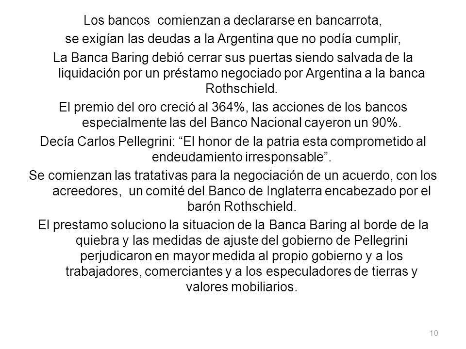 Los bancos comienzan a declararse en bancarrota, se exigían las deudas a la Argentina que no podía cumplir, La Banca Baring debió cerrar sus puertas s