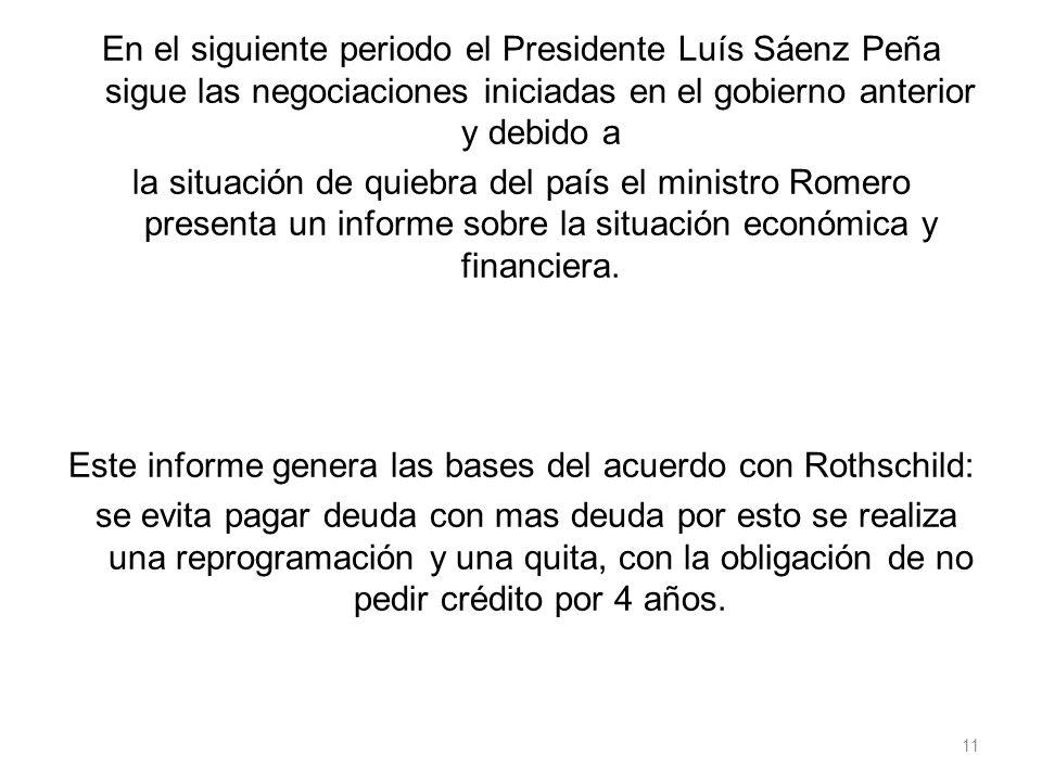 En el siguiente periodo el Presidente Luís Sáenz Peña sigue las negociaciones iniciadas en el gobierno anterior y debido a la situación de quiebra del país el ministro Romero presenta un informe sobre la situación económica y financiera.