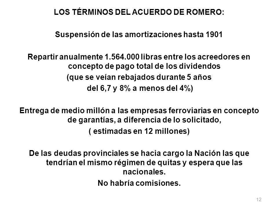 LOS TÉRMINOS DEL ACUERDO DE ROMERO: Suspensión de las amortizaciones hasta 1901 Repartir anualmente 1.564.000 libras entre los acreedores en concepto