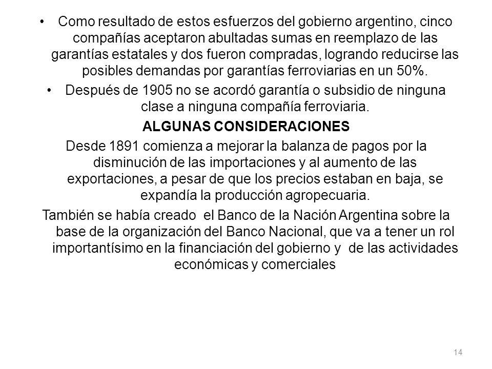 Como resultado de estos esfuerzos del gobierno argentino, cinco compañías aceptaron abultadas sumas en reemplazo de las garantías estatales y dos fuer