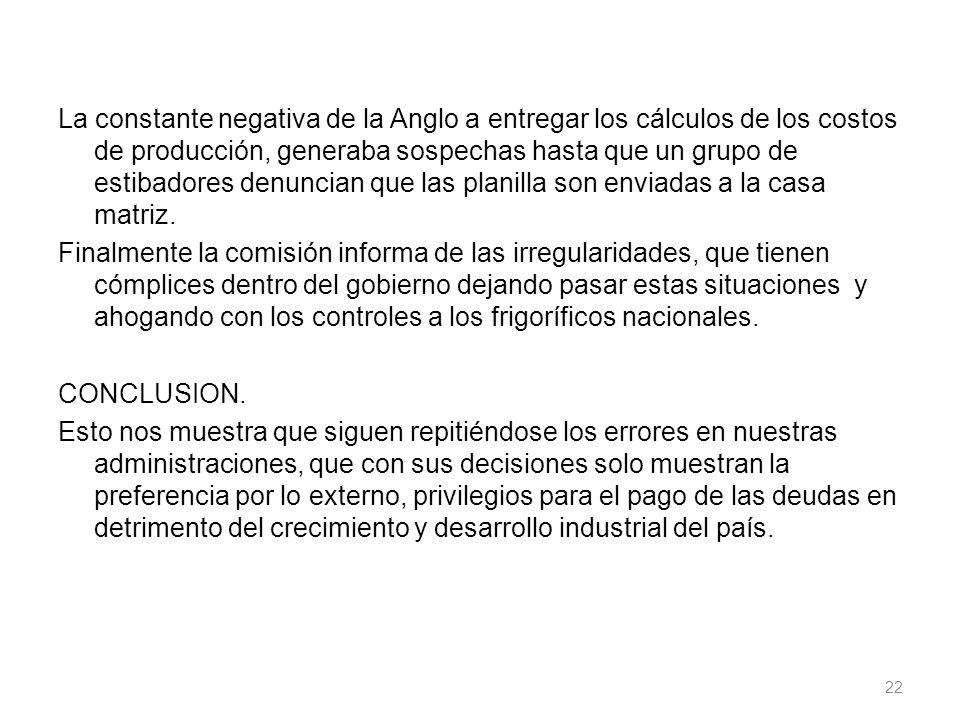 La constante negativa de la Anglo a entregar los cálculos de los costos de producción, generaba sospechas hasta que un grupo de estibadores denuncian