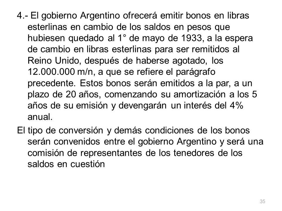 4.- El gobierno Argentino ofrecerá emitir bonos en libras esterlinas en cambio de los saldos en pesos que hubiesen quedado al 1° de mayo de 1933, a la